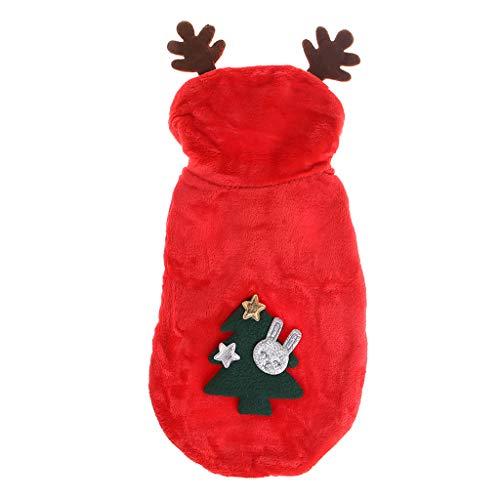 WT-DDJJK Abrigo Chaqueta, Abrigo para Mascotas Ropa de rbol de Navidad Disfraz Cuerno de Ciervo Sombrero Ropa Ao Nuevo Perro Cachorro