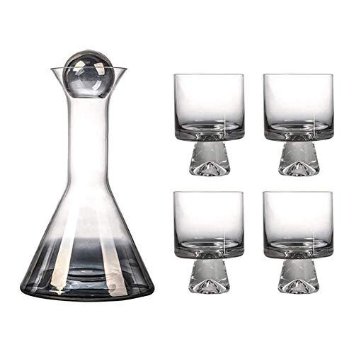 Decantador de copa de vino Whisky Decanter Crystal Wine Decanter Set, Tapotper y 4 gafas creativas incluidas, Smokey Shelley Decanter Glass Glass Aerating Wine Aja de vino, Set Whisky Decanter Set Cry