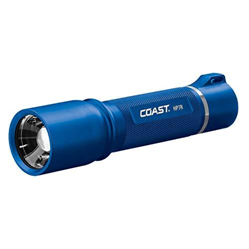 Coast HP7R 300 Lumen Rechargeable LED Flashlight with Slide Focus, Blue (21527)