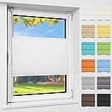 Atlaz Easyfix - Estor plisado sin agujeros, fijación para ventana (35 x 130 cm), color blanco