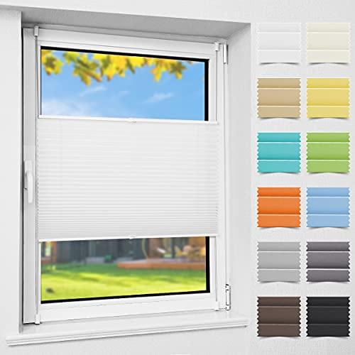 Atlaz Plissee ohne Bohren Weiß Crush 115x120cm (Breite x Höhe) Jalousie Sonnenschutz Easyfix Faltrollo Lichtdurchlässig Rollo für Fenster Tür