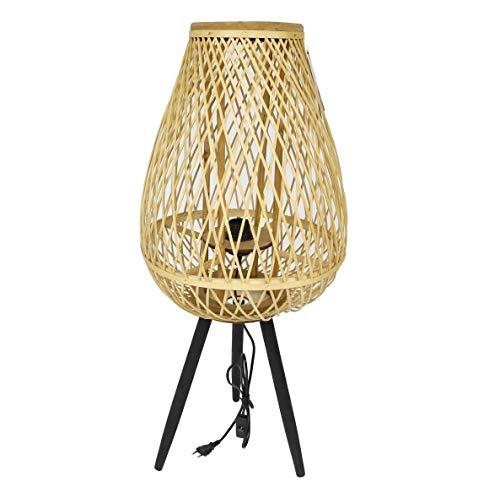 thesecrethome.es LÁMPARA RÚSTICA DE BAMBÚ   Bambú Natural   Decoración mediterránea para casa y jardín (Diámetro 38 x Altura 82 cm)