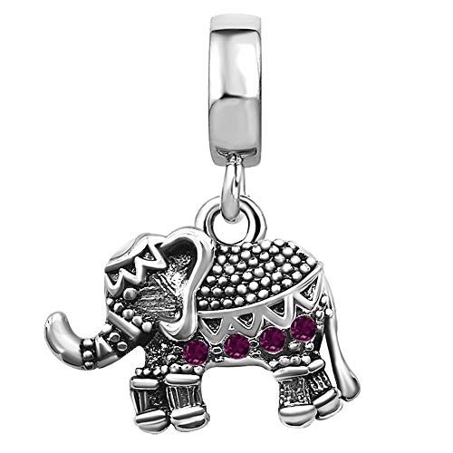 JMQJewelry Charms for Bracelets Elephant Dangle Birthday Birthstone Purple February
