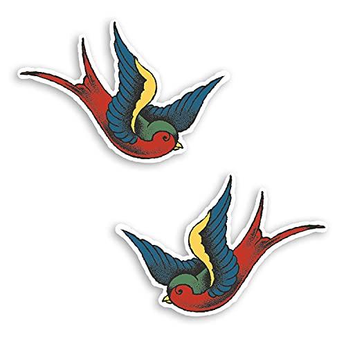 2 pegatinas de vinilo vintage de 10 cm de ancho, con diseño de pájaros de tatuaje retro #70006