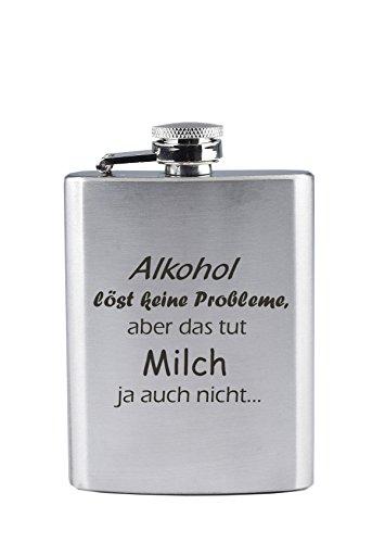 Edelstahl Flachmann mit Gravur - Alkohol löst Keine Prpbleme, Aber das TUT Milch ja auch Nicht. - Lustig - als Geschenk oder zu Weihnachten (90 ml)