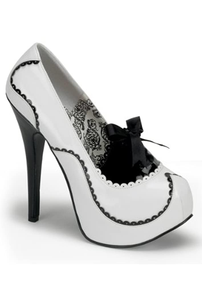 かすかな詐欺説明Bordello - Teeze01 White-Black Patent Platform Pump