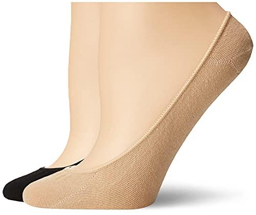Hue Women's 4 pair pack Hidden Cotton Liner, Asst, Medium/Large (Size 2)