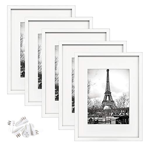 upsimples 12x16 Picture Frame Set of 5,Display Pictures 8.5x11 with Mat or 12x16 Without Mat,Wall Gallery Photo Frames,White