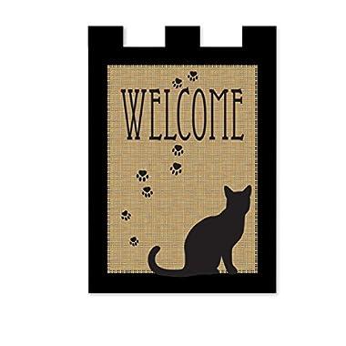 Magnolia Pawprints Cat Welcome Garden Flag, 13  x 18