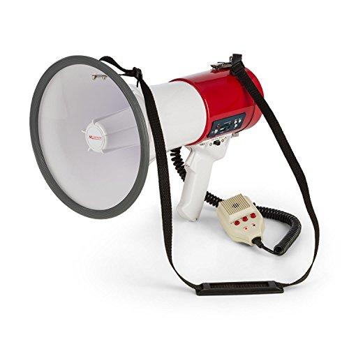auna Megaphon - MEGA080, 80 Watt, Sprech-, Sirenen oder Pfeif-Modus, USB/SD, MP3-Player, USB-/Rec-Funktion, 500-700 m Reichweite, Schultergurt, wetterfest, Kunststoffgehäuse, rot