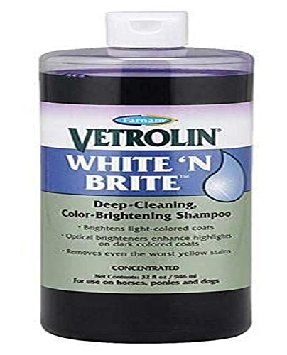Farnam Vetrolin White N' Brite, Deep cleaning and Color Brightening Shampoo for Horses and Dogs, 32 ounce