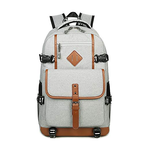 LOKIH Backpack Extra Large Durable Travel Laptop School College Bookbag with USB Charging Port,Gray