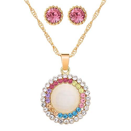 DYFUHO Oro Austriaco Cristal De Ópalo, Colgante Redondo Collar Pendientes Regalos, Ópalo Piedra Perlas Conjunto De Joyas, Regalos De Cumpleaños para Las Mujeres