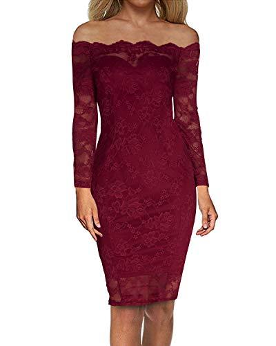 Auxo Damen Langarm Kleider mit Spitze Schulterfreie Elegant Knielang Abend Etuikleid Rot EU 38/Etikettgröße M