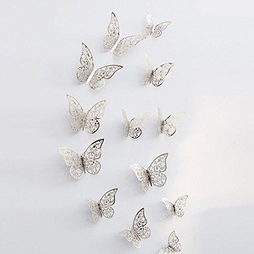 JiaMeng Decoración del hogar, 12 Piezas 3D Hueco Pegatinas de Pared Nevera de Mariposa para la decoración del hogar Nuevo