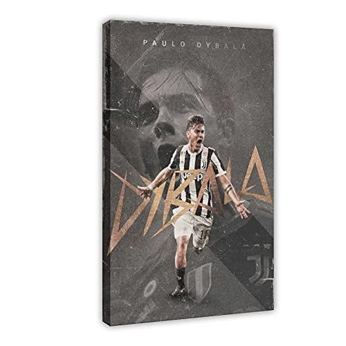Fußballspieler Paulo Dybala Poster Druck Sport Poster 6 Leinwand Poster Wandkunst Dekor Druck Bild Gemälde für Wohnzimmer Schlafzimmer Dekoration 60 × 90 cm Rahmen style1