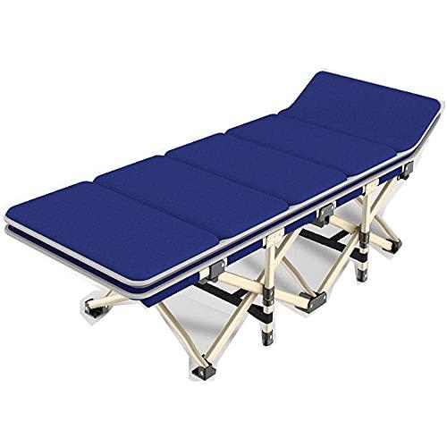 WGFGXQ Folding Recliner,Portable Folding Sun Lounger, Folding Camp Bed Su Lounger, Foldable Reclineing Sunbed, Lightweight Camping Bed for Adults for Outdoor Garden-Blue + Cotton Pad_190X37X36Cm