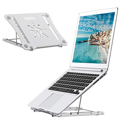 """OMERIL Soporte Ordenador Portátil 14 Ángulos Adjustable, Soporte Portatil Mesa de Aleación de Aluminio+Acero Inoxidable+Silicona, Laptop Stand Plegable para Laptop, PC, Tableta, Macbook y Otros 9-17"""""""