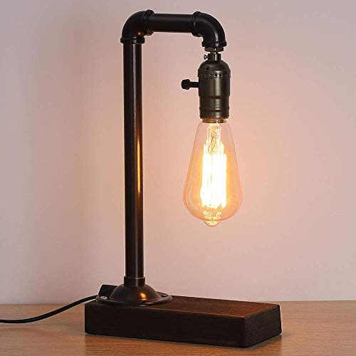 LIANTRAL Vintage Table Lamp, Retro Industrial Loft Style Steam Punk Lamp with Wood Base Iron Piping Desk Lamp for Bedside, Living Room, Kitchen, Café, Pub, Dorm