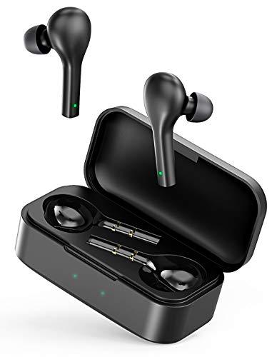 Bovon QCY Auriculares Inalambricos Bluetooth V5.0, Cascos Inalámbricos Bluetooth Sonido Estéreo In-Ear con Control Táctil, Llamadas Binaurales, Sincronización de un Solo Paso y 24 Horas Reproducción