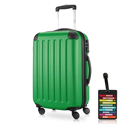 Hauptstadtkoffer - Spree, Carry on Hand Luggage Hard Shell Suitcase Approved for Baggage regulations of All Airlines, TSA, 55 cm, 42 Liter, Green +Luggage tag