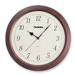 Lorell Wall Clock, Arabic Numerals, 13-1/2, White Dial/Mahogany