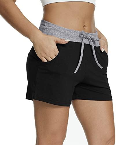CATHY Women's Athletic Shorts Drawstring Loungewear Pants Elastic Comfy Pajama Shorts with Pockets Black Large