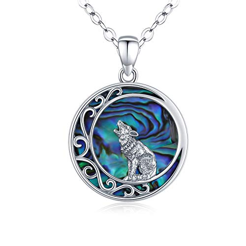 LOOVE Wolf Necklace Sterling Silver Abalone Shell Wolf Pendant Celtic Moon Jewelry Wolf Jewelry for Women Girl Men