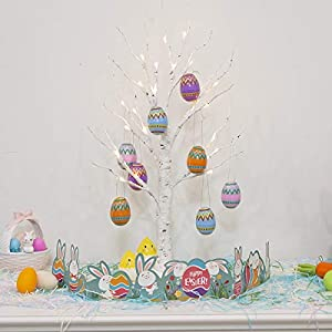 【LED Easter Tree】:2FT tall with 24 led warm white lights,beautiful Easter egg ornament set and tree skirt for decorating your home this Easter! 【Timing Function】:You can be turn on/timer/off both manually and automatically controlled by switch on the...