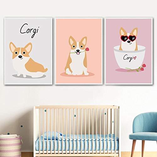 WADPJ Cartoon Corgi hondenmand muurkunst canvas schilderij poster kinderkamer afdrukken Nordic poster dieren afbeelding kinderkamer decor-40x50cmx3 stuks geen lijst