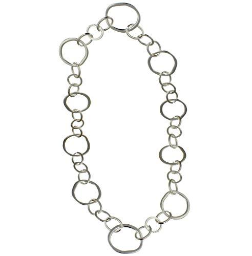 Modeschmuck, versilberte abstrakte Form mit großen runden Kettengliedern, lange Halskette