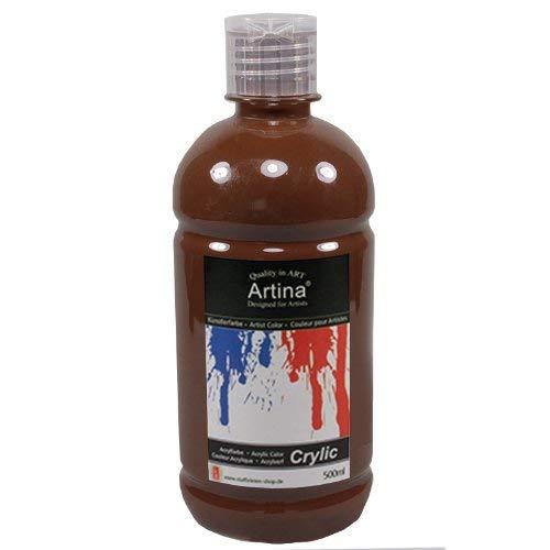 Artina Crylic Acrylfarben - hochwertige Künstler-Malfarbe in 500 ml Flaschen in Umbra Gebrannt & weitere Farben