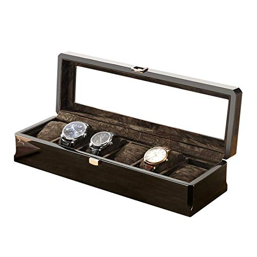 GLXLSBZ Watch Box Case Organizer Display for Men Women 6 Slot Wood Box with Glass Top Adjustable Soft Pillows Metal Clasp (Color : Black)