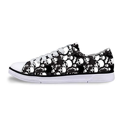 Flowerwalk Zapatillas de lona para hombre, con cordones, diseño de calavera, ligeras, para correr, para el verano, para el tiempo libre, color Negro, talla 39 EU