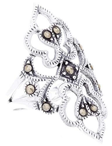 WINDALF Damen Fairy Ring AINE 28 mm Feenreich Mittelalter 925 Sterlingsilber (Silber, 58 (18.5))