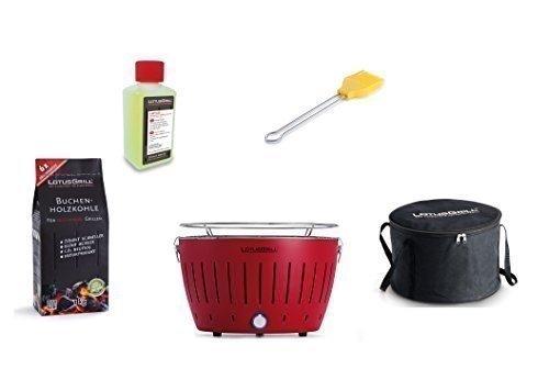 LotusGrill Kit de démarrage 1x rouge feu 1x charbon bois hêtre 1kg, 1x Pâte brûlante 200ml, 1x Pinceau à marinade REHBRAUN, 1x sac transport - la raucharme Barbecue à / Table farben. garanti,