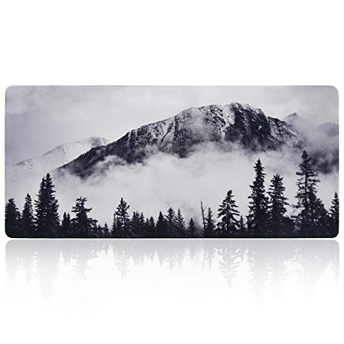 iLeadon Desk Pad Protector, Large Gaming Mouse Pad 35.1 x 15.75-inch 2.5mm Thick, Cute Desk Decor, Office Desk Writing Pad with Non-Slip Rubber Base for Home Office Work Accessories, Foggy Forest