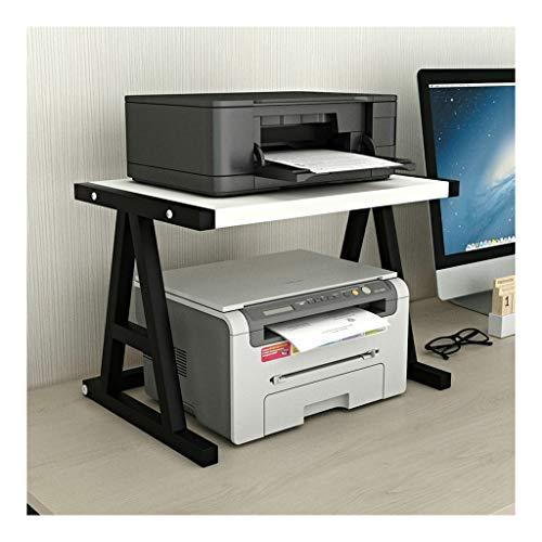 Bureauhouder voor printer, tablet, voor de ruimte, organizer (materiaal en staal), opbergvak, planken, dubbel niveau, voor mini 3D-printers, goudkleurig Black-d