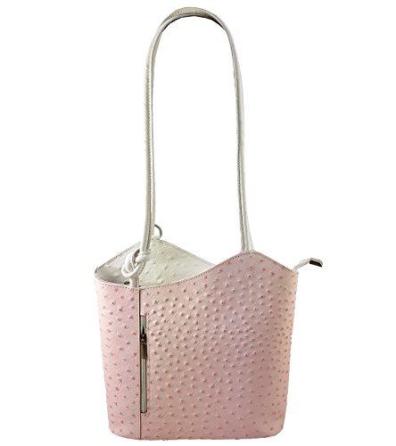 Freyday 2 in 1 Handtasche Rucksack Henkeltasche aus Echtleder in versch. Designs HR03 (Strauß Rosa-Weiß)