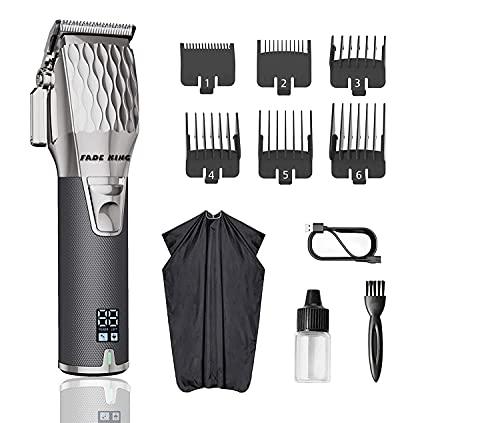 Fade King,todo metal,motor silencioso cortapelos profesionales para hombres.para cortar el pelo y barba, kit de aseo para barberos, recargable, pantalla LED