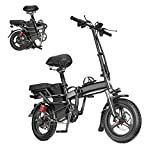 HUUH 14'' Adult Bike,Electric Bikes for Adults,Commuter Bicycle,Electric Bike Portable Ebike,Folding Electric Bicycle, Mini Bike Weight Bearing 550lb,Electric Bicycle with 350W Motor【US Spot】 (Black)