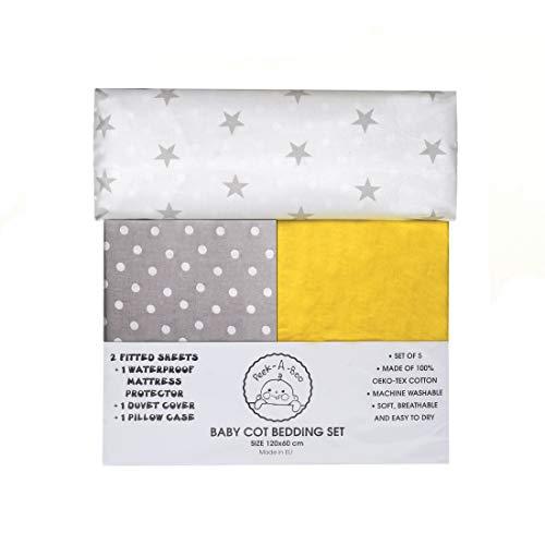 Parure de lit de bébé : 1 x protège-matelas imperméable, 2 x draps-housse, 1 x housse de couette, 1 x taie d'oreiller, réversible 100 % coton certifié Oeko-Tex - Fabriqué en Europe