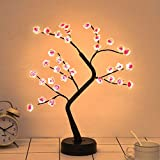 Noahfun Plum Blossom Bonsai Tree Light - 20'' Artificial Fairy Light Spirit Tree with 36 LED Plum Blossom Lights - USB/Battery Touch Switch, Deco of Bedroom, Living Room, Party Wedding and Christmas