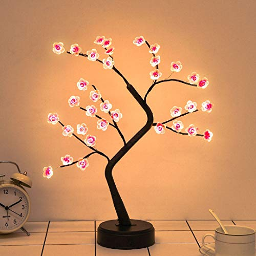 Plum Blossom Bonsai Tree Light - 20'' Artificial Fairy Light Spirit Tree with 36 LED Plum Blossom Lights - USB/Battery Touch Switch, Deco of Bedroom, Living Room, Party Wedding and Christmas