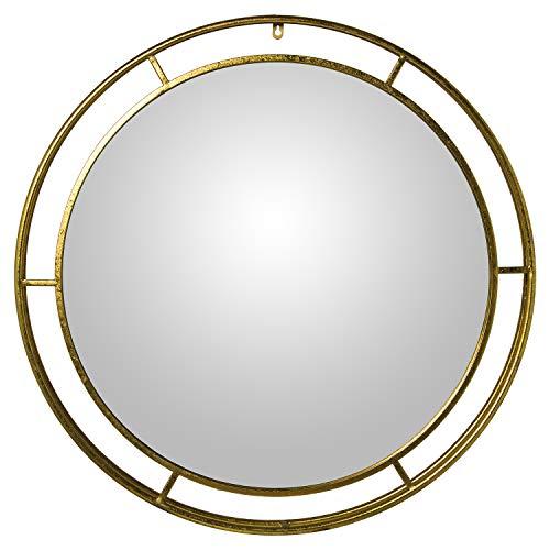 Espejo de Pared Redondo de Metal Dorado