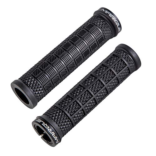 MARQUE Grapple Mountain Bike Handlebar Grips – Single Lock-On Ring MTB and BMX Bicycle Handle Bar with Non-Slip Grip (Phantom Black)