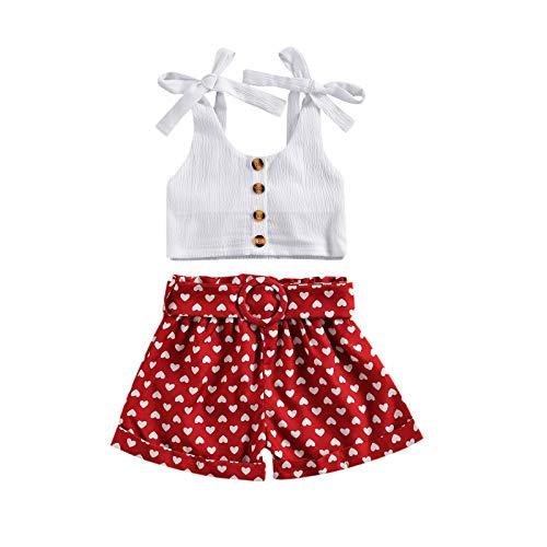 Longfei Pantalones cortos de verano para niña con volantes y pantalones cortos negros de lunares