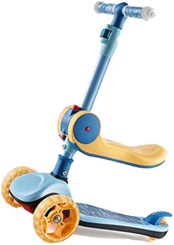 GYY SHOP Kinder Jungen und Mdchen Auto 2-8 Jahre alt Baby Yo-yo 57cm Blau Flash Breit Radrutsche Roller (Farbe   Blau, Größe   57  29  65CM)