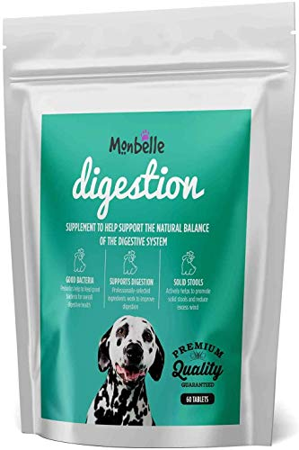 Monbelle Digestion, 60 Tablets   Supports Digestive Health for Dogs   Keeps Stools Firm   Premium Quality   Vet Endorsed   UK Manufactured
