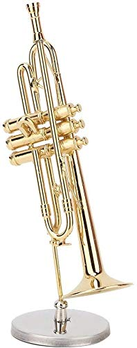 HEEPDD Miniatuur Trompet Model, Delicated Golden Mini Trompet Mini Instrument Ornament Decoratie Home Decor Ornamenten voor Muziek Liefhebber